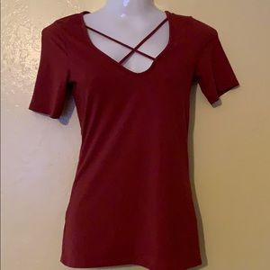 Woman's criss/cross design top Terra-cotta color